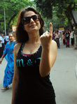 Amisha Patel at Bollywood Celebrities Voting in Mumbai held on 13th Oct 2009