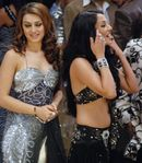 Hansika Motwani and Celina Jaitley on the sets of Money Hain To Honey Hain