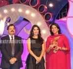 Young Political Achiever Award was presented to MP Priya Dutt by Sophie Choudhury, Cabinet Minister Naseem   Mr Jyoti Narain, Director Pearls Broadcasting Corporation  Ltd
