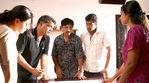 Simran with Surya and Director Goutham menon at the Varanam Aayiram Shooting spot