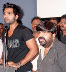 Simbu's new Hair Style spotted at a press meet