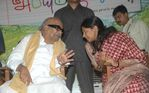 DMK Chief with MP Kanimozhi .K at Abhiyum Naanum movie audio launch