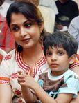 Ramyakrishnan with her son at Kuruvi - 150 Days celebrations