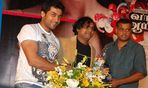 Surya with Gautham Vasudeva Menon and Harris Jayaraj at Vaaranam Aayiram Audio launch