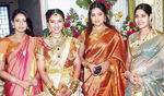 Sangavi with Meena and maheshvari at Sridevi and Rahul Wedding