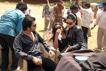 Simbu, Sana Khan, Director S Saravanan at Silambattam shooting spot