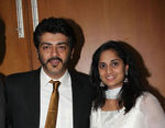 Ajith with wife shalini at Actor Prabhu daughter Aishwarya and Kunall marriage reception