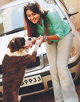 Namitha with her pet dog
