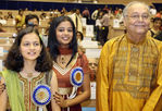 Winner of the 'Best Actor' award Soumitra Chatterjee with Priyamani winner of the Best Actress award and Divya Chaphadkar, the Best Child Artist award winner.