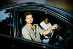 Illayathalapathi Vijay in his BMW car