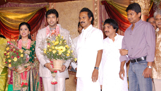 Jayam Ravi Wedding Reception Stalin And Udhayanidhi At Aarthy Indian Bollywood South Movie Photo Gallery