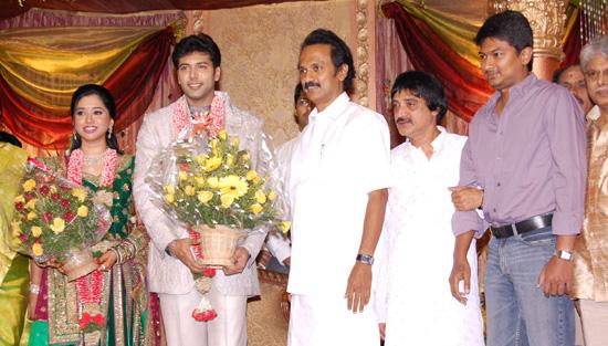 Stalin And Udhayanidhi At Jayam Ravi Aarthy Wedding Reception