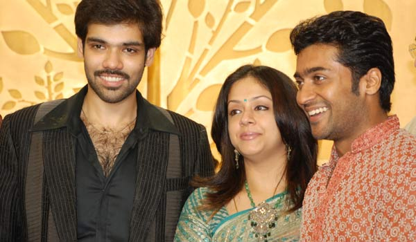 Surya and Jyothika at Sibiraj and Revathi Wedding Reception