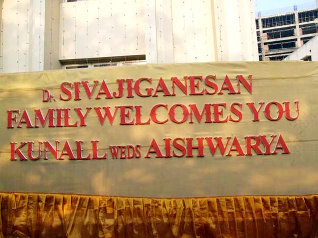 Welcome Banner Prabhu Daughter Aishwarya Kunall Wedding Marriage Reception