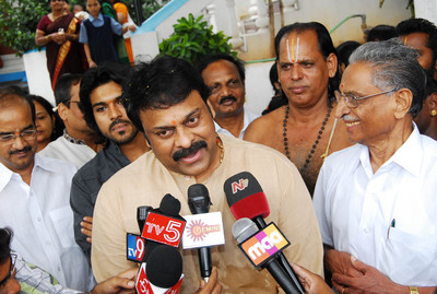 Chiranjeevi To Launch Political Party , Chiranjeevi ramcharan teja,ramcharan teja, Chiranjeevi at temple