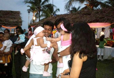 In Pic – Actor Surya with baby Diya and Actor Ajit with baby Anushka