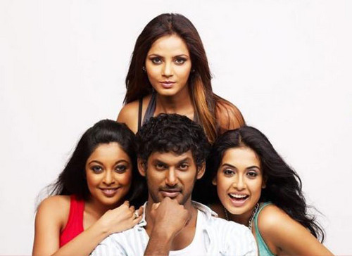 Vishal-with-Neetu-Chandra-Sarah-Jane-and-Tanushree-Dutta-in-Theeratha-Villaiyattu-Pillai-2.jpg