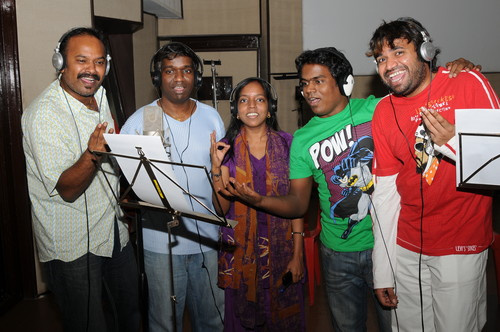 Yuvan-Shankar-Raja-Venkat-Prabhu-bhavatharini-and-Premji-at-song-recording-of-tamil-movie-Goa.-2.JPG