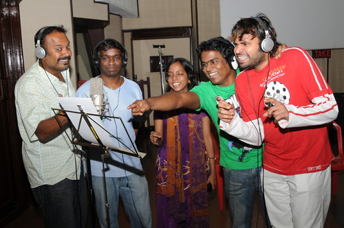 Yuvan-Shankar-Raja-Venkat-Prabhu-bhavatharini-and-Premji-at-song-recording-of-tamil-movie-Goa..JPG