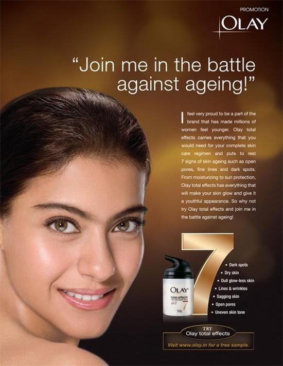 Kajol anti ageing cream, Olay ads.